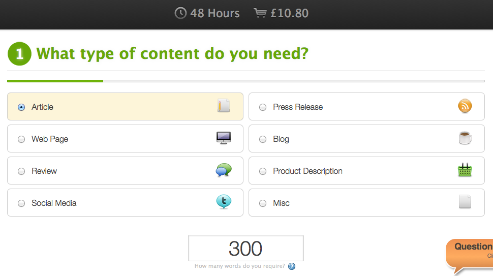 Step 1 - choose your content type