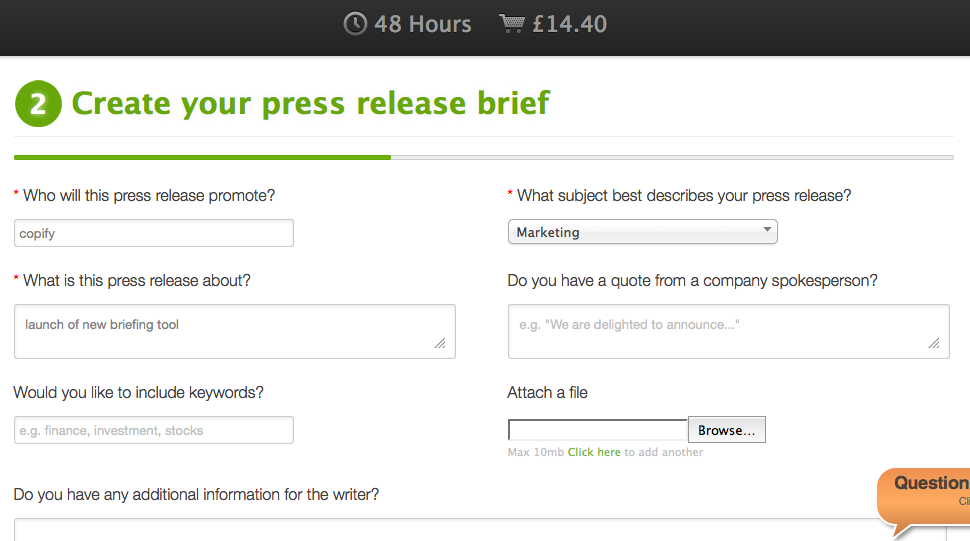 Bespoke briefing template for each content type