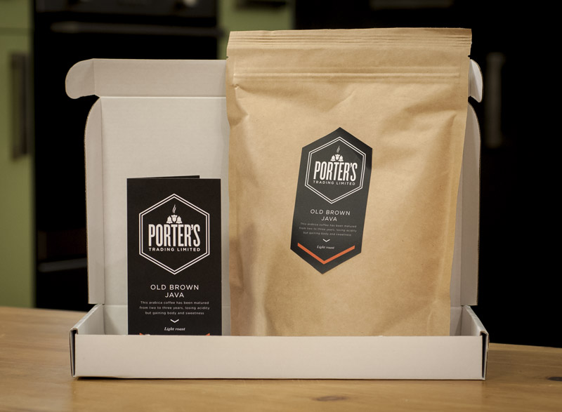 Porters coffee is bagged in this lovely packaging with a leaflet explaining the origin of the coffee
