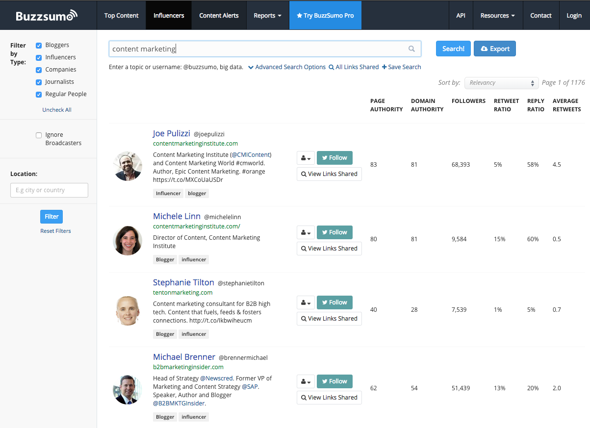 Use Buzzsumo to find influencers