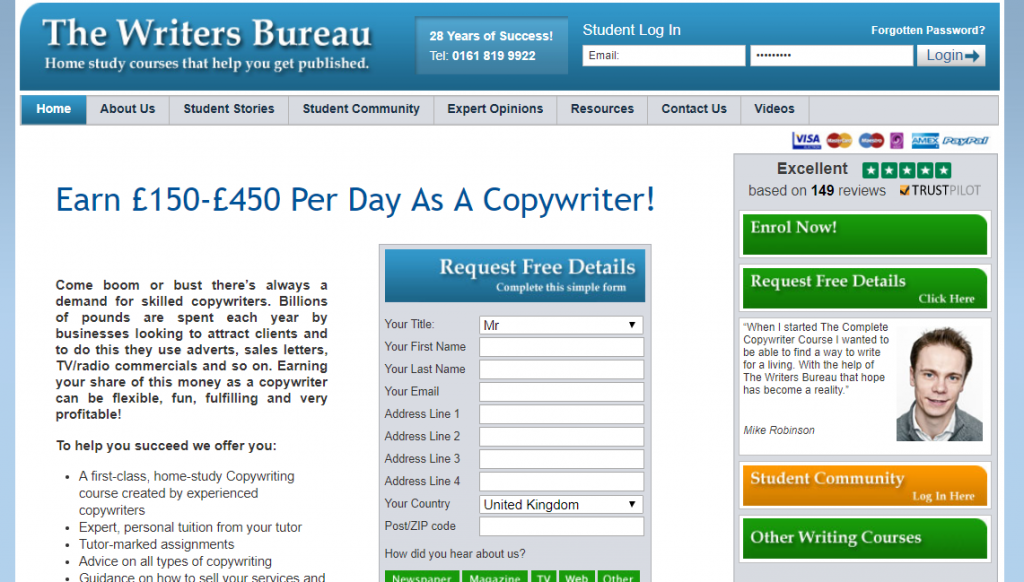 Writers Bureau copywriting diploma