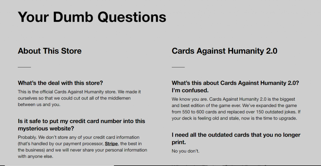 Card Against Humanity - Examples of good copywriting