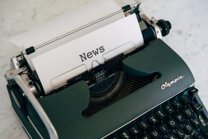 Typewriter with a page headed 'News'
