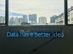 Neon light spelling out 'Data has a better idea'