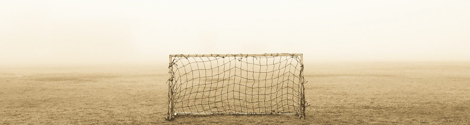 Picture of an open goal on a misty playing field