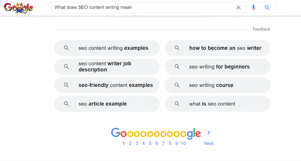 Screenshot of Google 'People also ask' results - What does SEO content writing mean - Copify blog
