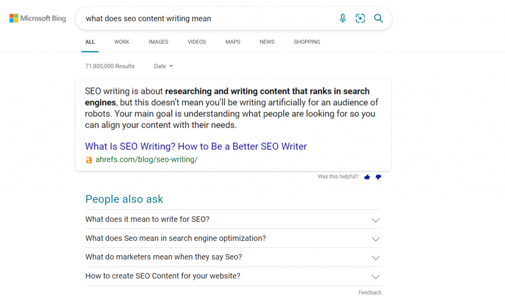 Image of Bing results pages - What does SEO content writing mean - Copify blog