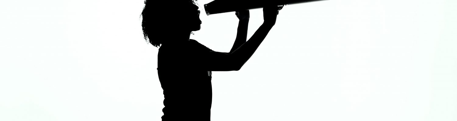 Silhouette of a woman with a megaphone
