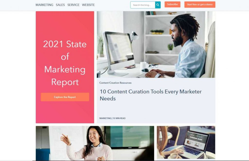 Screenshot of HubSpot's blog - Who does content marketing well - Copify blog