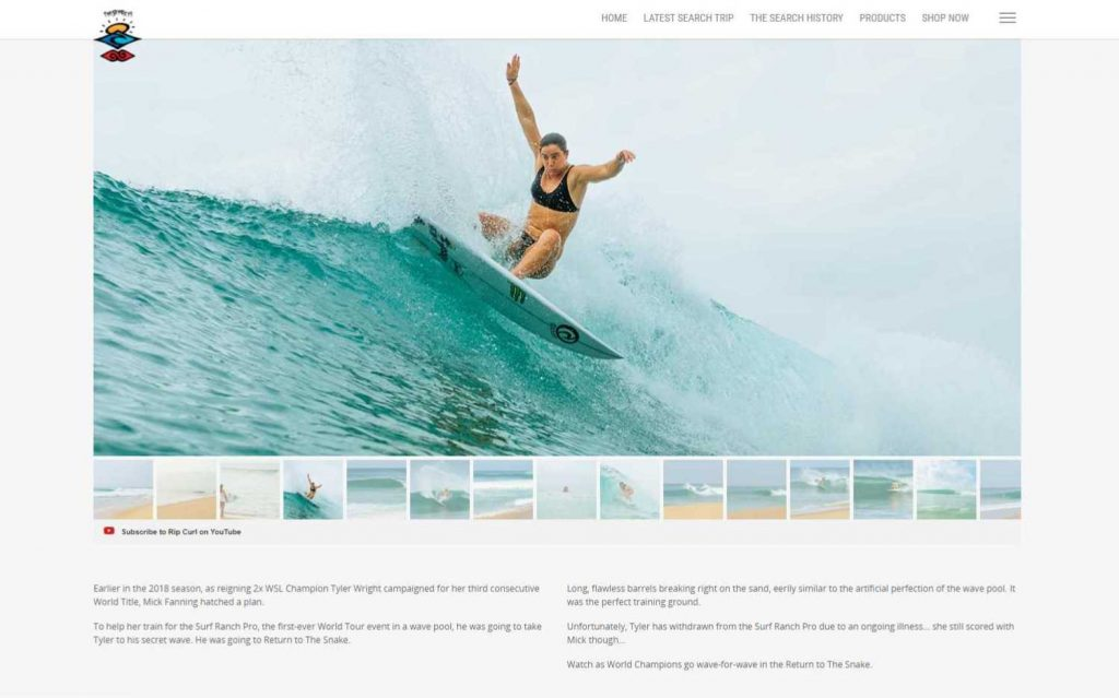 Screenshot of text and an image of someone surfing on the Rip Curl blog- Who does content marketing well - Copify blog