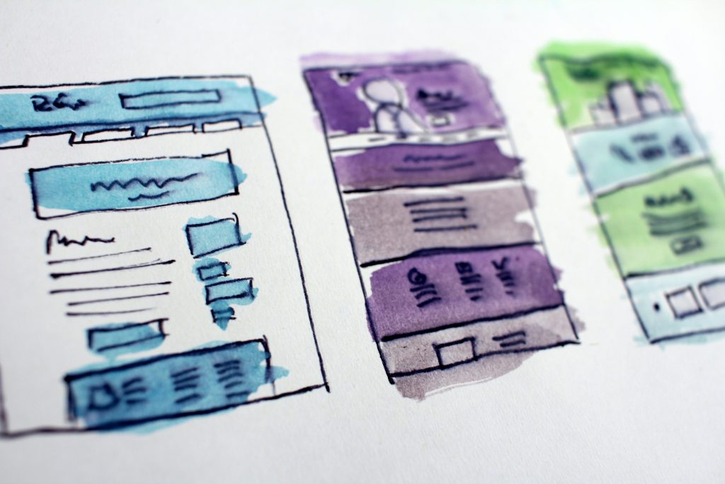 Image of three watercolour wireframes - Who does content marketing well - Copify blog
