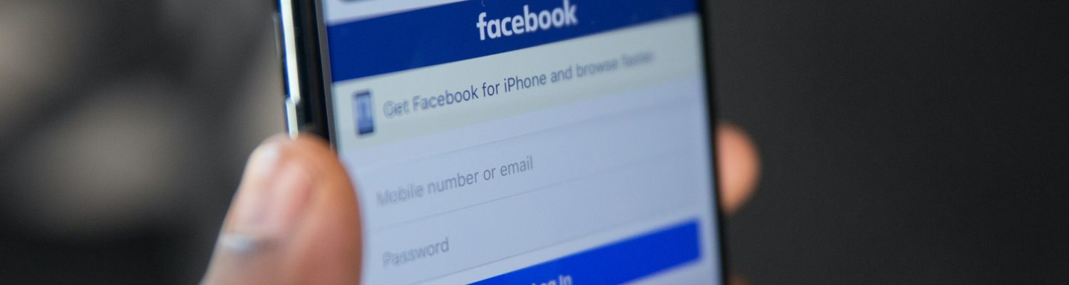 Facebook login page on iPhone