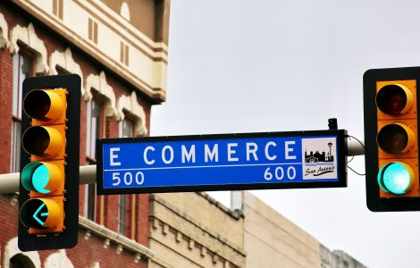 eCommerce street sign in between two sets of traffic lights