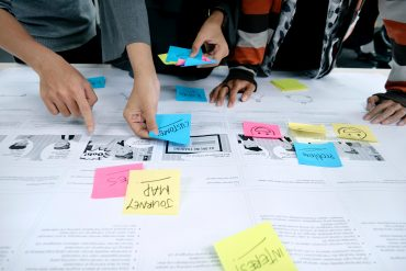 customer journey map with sticky notes