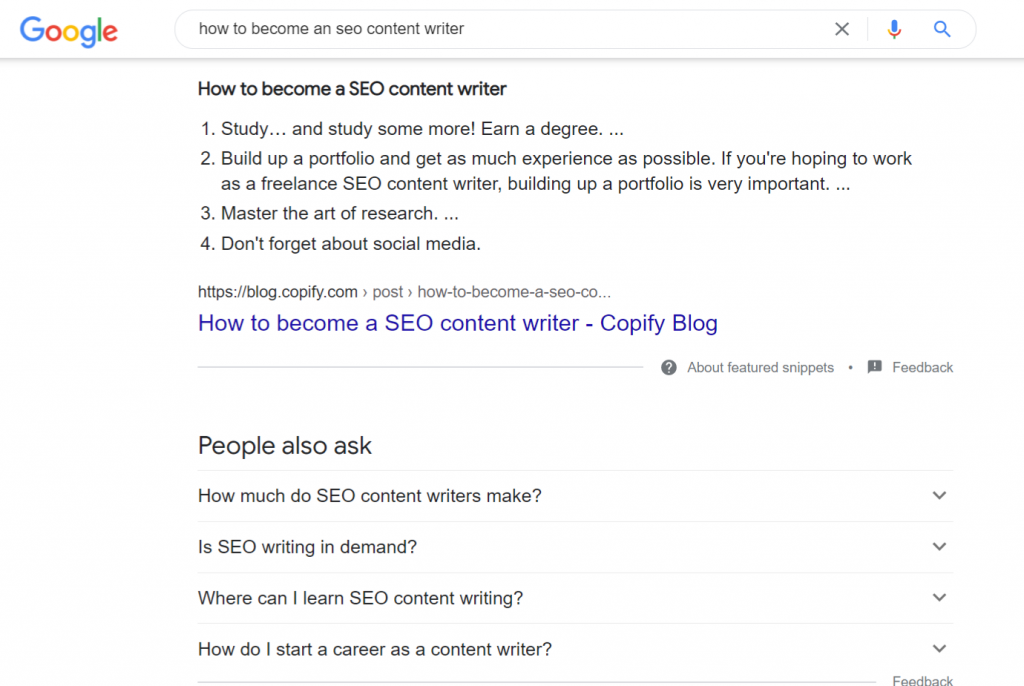 Screenshot of a Featured Snippet in Google results - How to write SEO optimised content - Copify blog