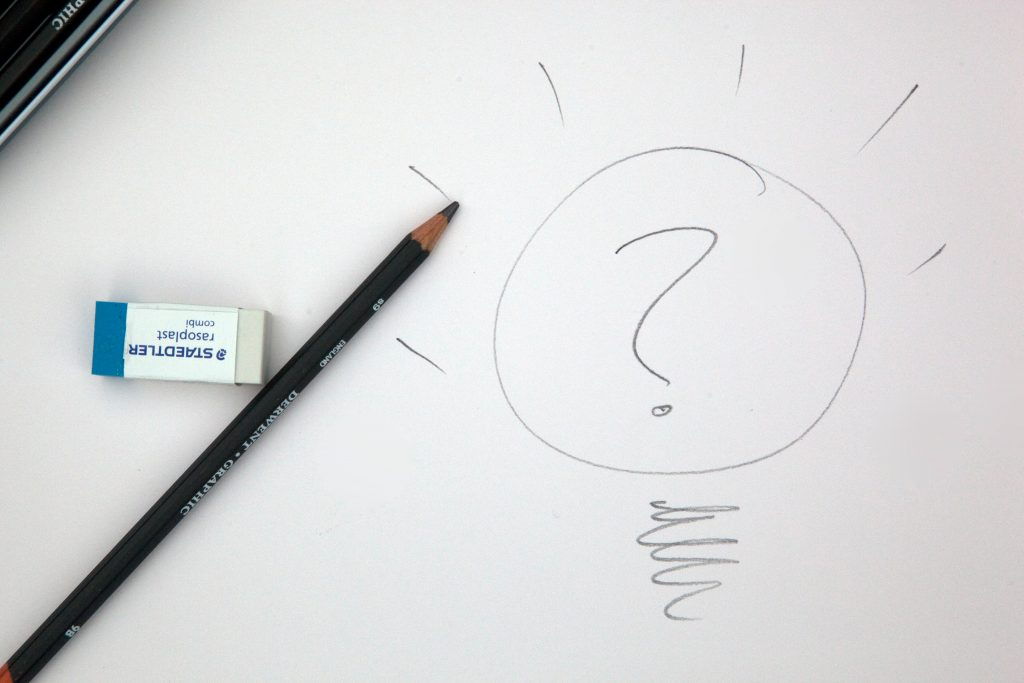 A blank page with a question mark and pencil and eraser -How to create an effective Google SEO content strategy - Copify blog
