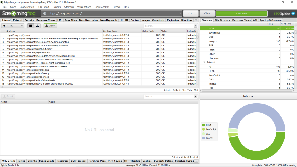 Screenshot of Screaming Frog - How to perform an SEO content audit - Copify blog