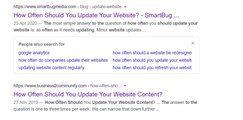 Screenshot of Google results page displaying dates - How to update website content online - Copify blog