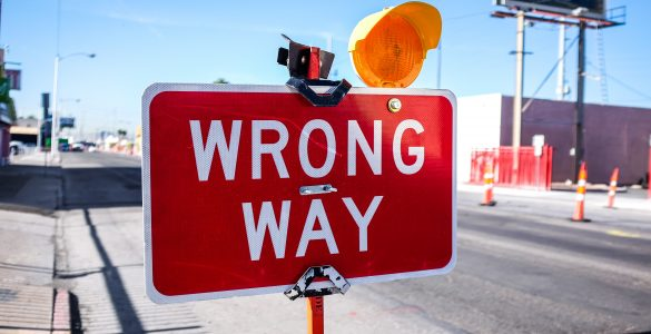 Wrong way sign - What are some common SEO mistakes in digital content production - Copify blog 1