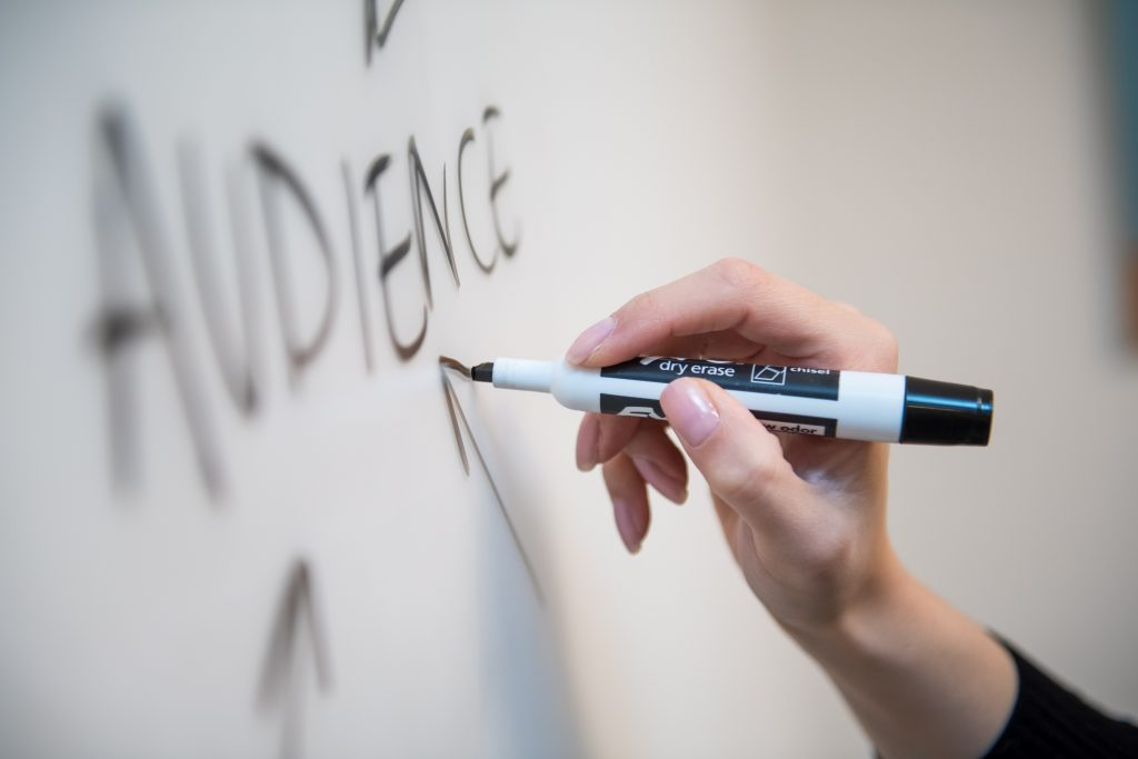 Closeup of 'audience' text as spider diagram on whiteboard - What is lead generation in email marketing - Copify blog