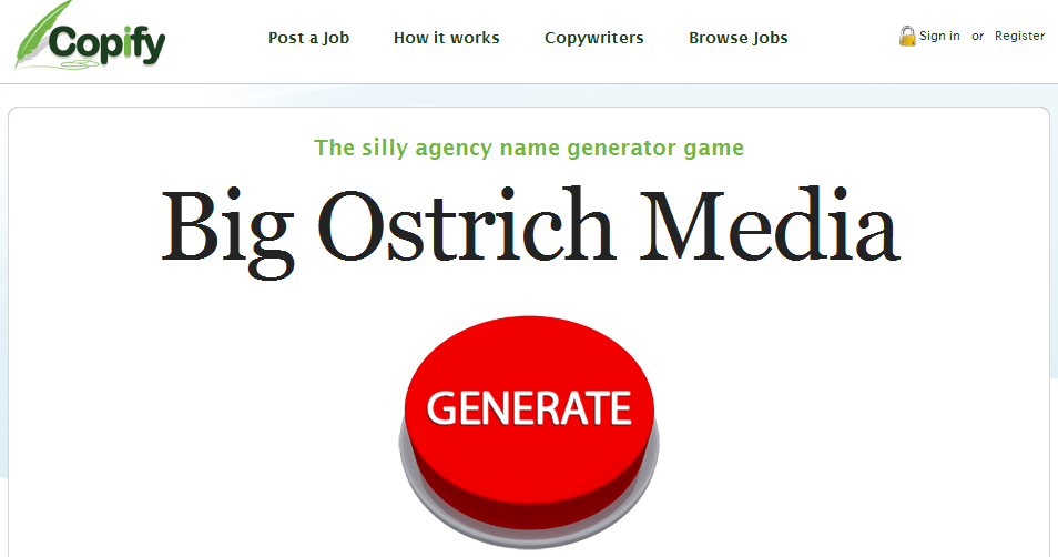 The silly agency name generator game
