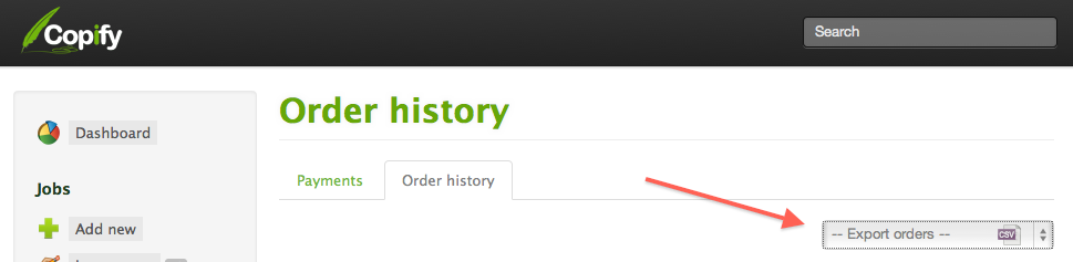 Export your order history