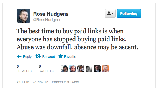 Ross Hudgens on paid links