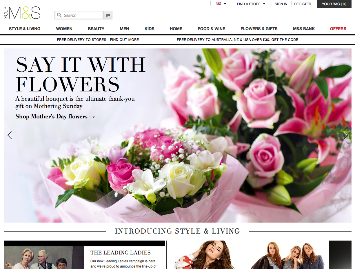 M&S New Homepage
