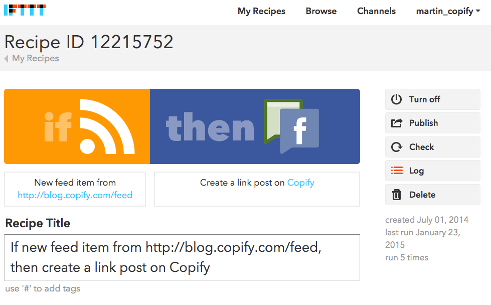 Automate sharing with IFTTT