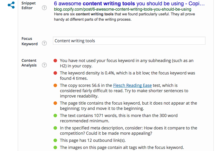 Content analysis via the Yoast plugin